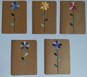 notecards with flowers pieced from wallpaper